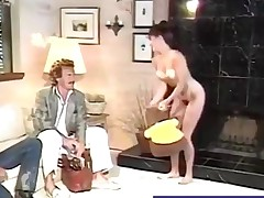 Hairy babe gets her pleasant pussy plowed retro style