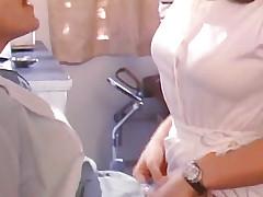 Mustachioed man kissing girlfriends wet chink