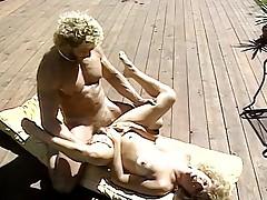 Married pair get some shut-eye near pool