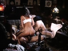 Tracy Adams rides Ron Jeremy beamy cock in a fourway