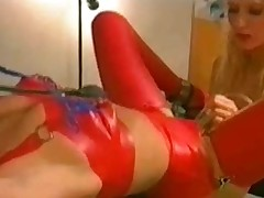 Hot mistress uses toys with an increment of pumps on her underling girl