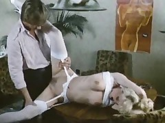 Sultry retro secretary drilled all over video