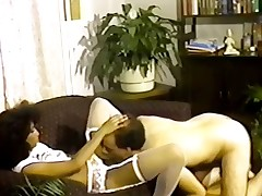 Petite tittted Nubian seduces bloke