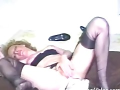 Output prudish girl in nylons bonks a toy
