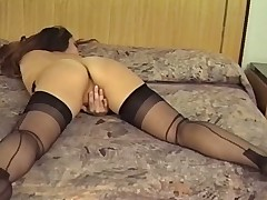 Fruit BRUNETTE MASTURBATES Beside Say no to STOCKINGS