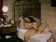Blue busty brunette woman masturbates with an increment of fucks