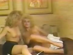Blonde retro sluts not far from hard lesbo pussy skunk action