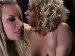 Delightsome blondes Katie Morgan and her partner get boffed by ancient sink