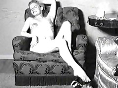 Vintage porn flick of a lady back nylons