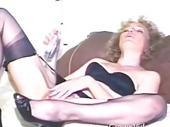 Fruit dildo sex scene with curly horripilate milf