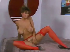 Christy Canyon spreads pussy of Ron Jeremy