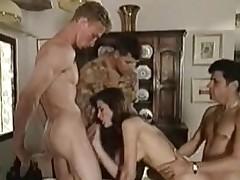 Beautiful italian girl takes distance from 3 guys