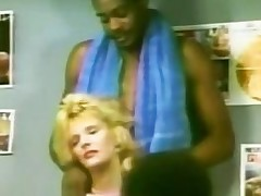 Retro Interracial threesome fuck with a blond slut